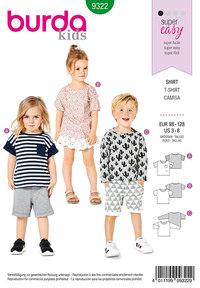 Burda 9322. T-shirts og bluser til børn.