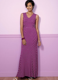 V-udskæring på prinsessessøm-kjole. Butterick 6449.