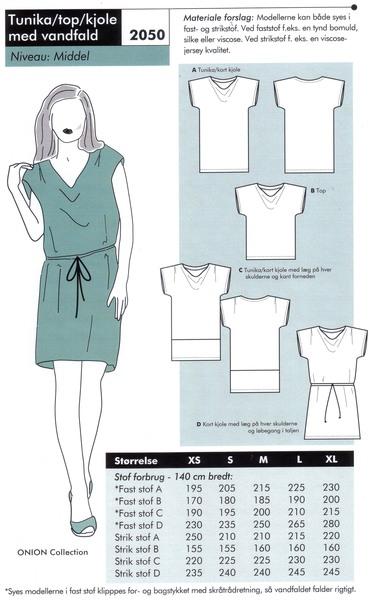 Tunika, top eller kjole med vandfald