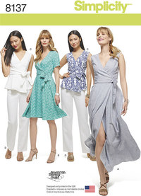 7 plus size slå-om kjoler, top og bukser. Simplicity 8137.