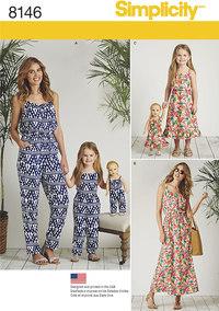 Buksedragter og kjoler til børn og voksne. Simplicity 8146.