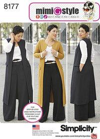 Bukser, frakke eller vest, og strik top - Mimi G. Simplicity 8177.