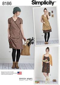 Slå-om-kjole i vintage stil. Simplicity 8186.