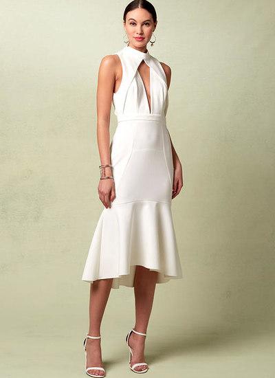 Foeret kjole med halsudskæring og dyb-v forside, Rebecca Vallance