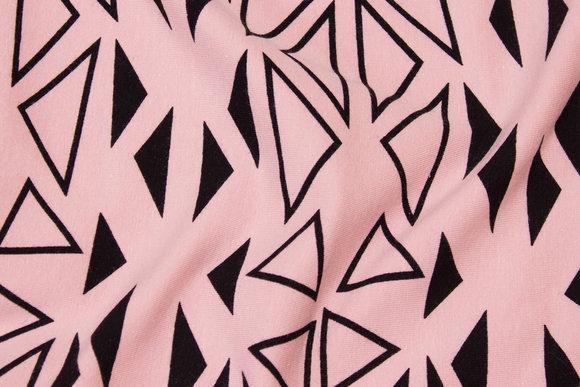 Gammelrosa bomuldsjersey med sort grafisk mønster