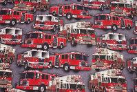 Grå bomuldsjersey med flotte røde brandbiler