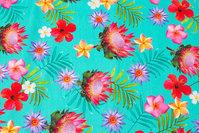Grønturkis bomuldsjersey med pink blomster