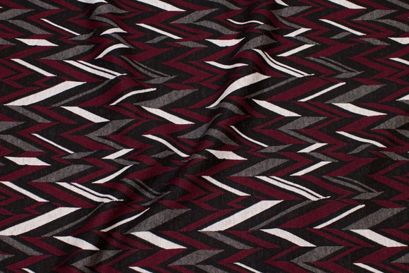 Heavyjersey med zig-zag mønster i bordeaux, grå, sort og hvid.