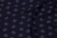 Jersey-quilt i marine med lyse blade