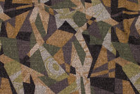 Let vinterstrik med grafisk mønster i oliven og gylden