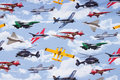 Lyseblå bomuldsjersey med flyvemaskiner.