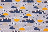 Lysegrå bomuldsjersey med pingviner med paraplyer