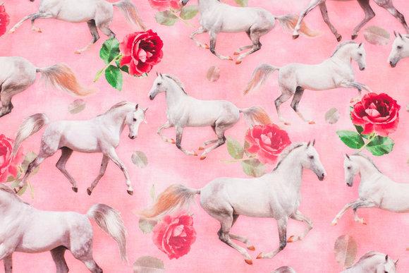 Lyserød bomuldsjersey med hvide heste