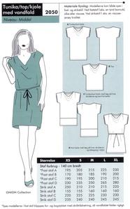 Tunika, top eller kjole med vandfald. Onion 2050.