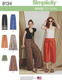 Bukser og shorts, 4 designs. Simplicity 8134.