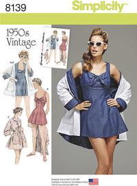9 vintage badekjole og beach frakke. Simplicity 8139.