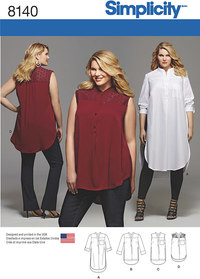 Lange skjortebluser. Simplicity 8140.