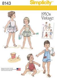 Simplicity 8143. Badetøj til småbørn, vintage stil.