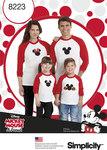 Simplicity 8223. Langærmede t-shirts med Disney motiver.