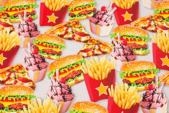 Sjov bomuldsjersey med Burgers og Pommes Frites m.m.