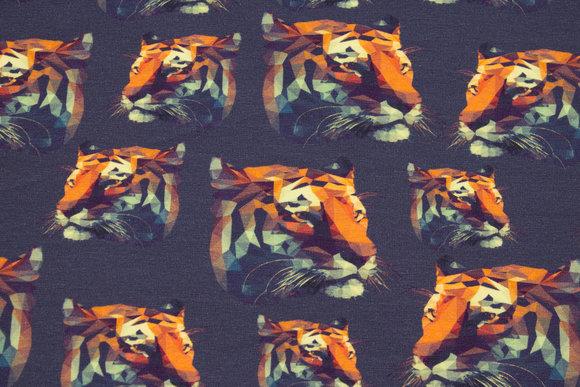 Støvet marine bomuldsjersey med tigerhoveder