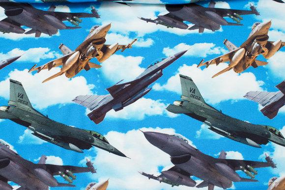 Turkisblå bomuldsjersey med jagerfly