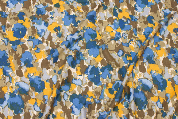 Viscosejersey i blå, gul og sand