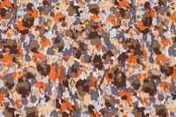 Viscosejersey i rust, brun og dueblå