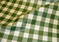 Voksdug med tern i grøn og hvid.