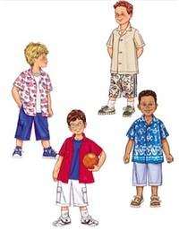 Skjorter og shorts til børn. Butterick 3475.