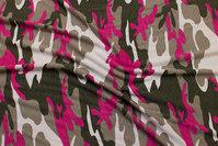 Camouflagemønstret viscosejersey i jordfarve, pink og hvid