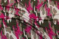 Camouflagemønstret viscosejersey i jordfarve, pink og hvid.