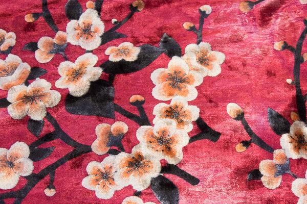 Ceriserød Ice-velour med kirsebærgrene