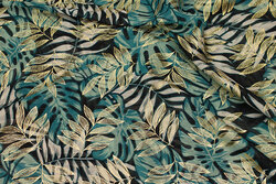Chiffon med blade i grøn og guld