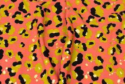 Coral micro-polyester med lime, sort og guld