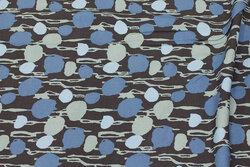 Grå bluse-viscose med dueblåt mønster