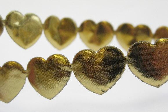 Guld hjerter el stjerner på bånd 1,6 cm