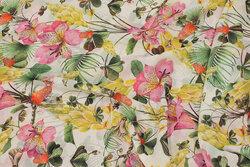 Hvid chiffon med pink orkideer