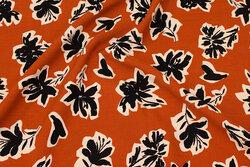 Kanel bluse-viscose med 6 cm mønster i sort og off white
