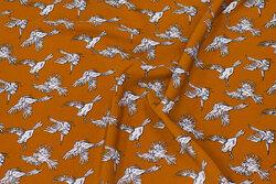 Kanelfarvet micro polyester med fugle
