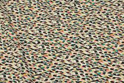 Let polyester stræk-crepe i off-white, grøn og coral