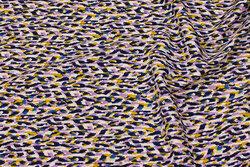 Let polyester stræk-crepe i off-white, lilla, gul