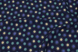 Marine bluse-viscose med cirkelmønster