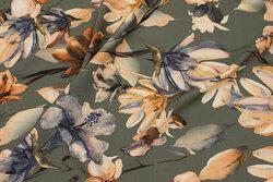 Oliven bluse-polyester med let stræk og beige blomster