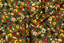 Oliven polyestersatin med let stræk og blomster