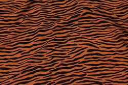 Rustfarvet bluse-viscose med sort stribemønster