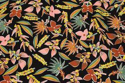 Sort bluse-viscose med ca. 5 cm blomster