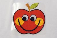 Stort rødt æble strygemærke 9x9cm