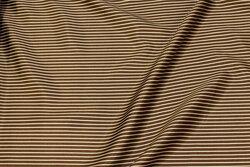 Stræksatin med brun og off-white striber på langs